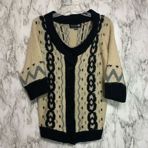 Forever 21 soft short sleeve button up sweater